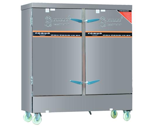 Tủ nấu cơm 24 khay dùng điện, có chế độ hẹn giờ và cài đặt nhiệt độ