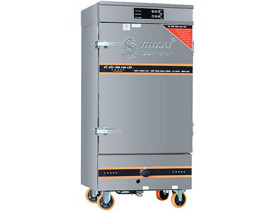 Tủ nấu cơm 10 khay dùng ga điện kết hợp, có chế độ hẹn giờ và cài đặt nhiệt độ