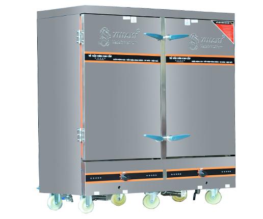 Tủ nấu cơm 24 khay dùng ga điện kết hợp, có chế độ hẹn giờ và cài đặt nhiệt độ