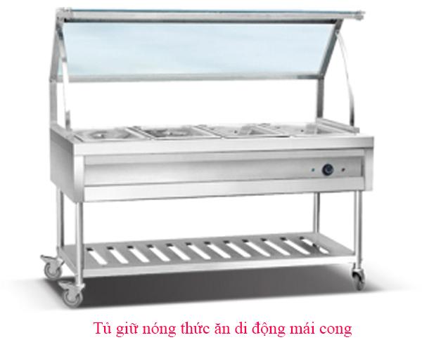 Tủ giữ nóng thức ăn 4 khay ( mái cong)